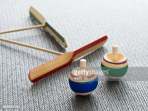 Traditional Japanese toy_Koma and Taketombo : Stock Photo
