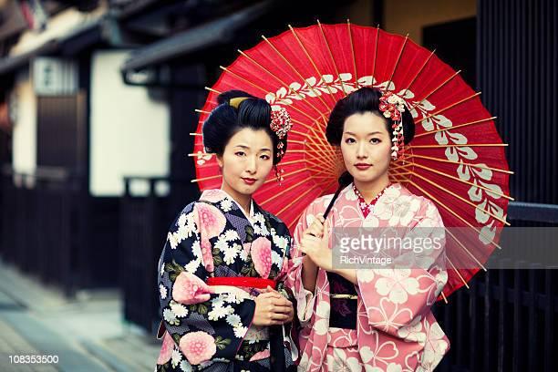 Mujer en vestido tradicional japonesa de Kyoto, Japan quimono