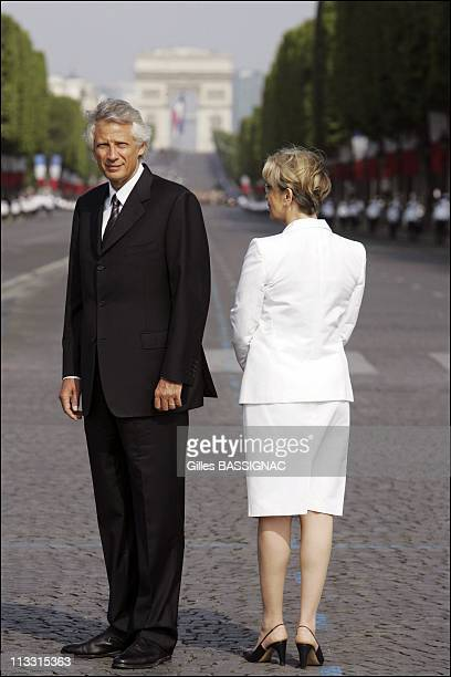 Traditional July 14/Bastille Day Military Parade On Champs Elysees Avenue Paris On July 14Th 2006 In Paris France Here Dominique De Villepin And...