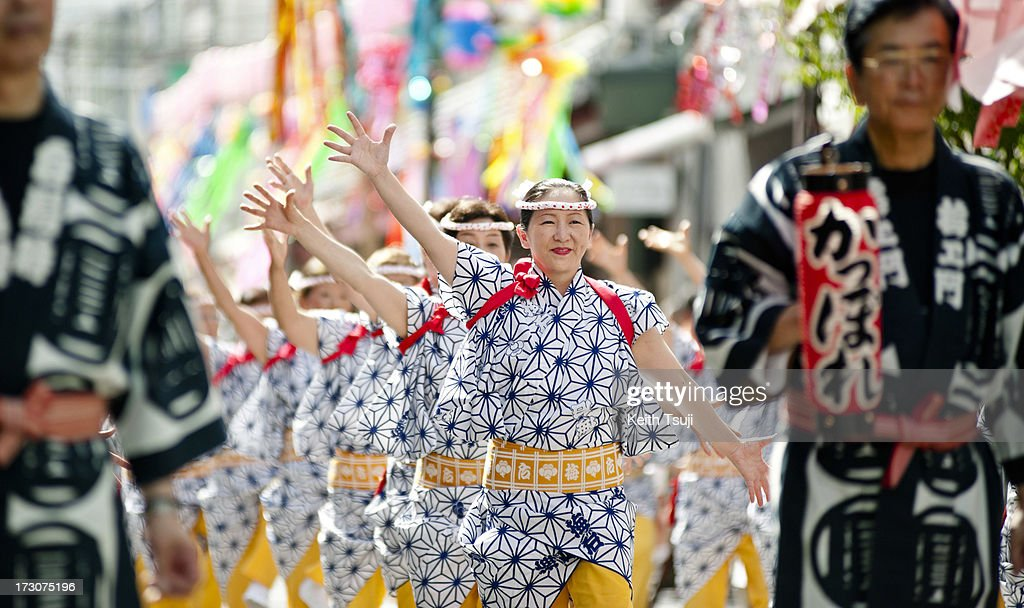 Traditional Kappore dancers perform at the Tanabata festival on July 6, 2013 in Tokyo, Japan. Tanabata is a Japanese star festival where people dress in traditional 'yukata' robes and write their wishes on strips of paper to hang on bamboo trees.