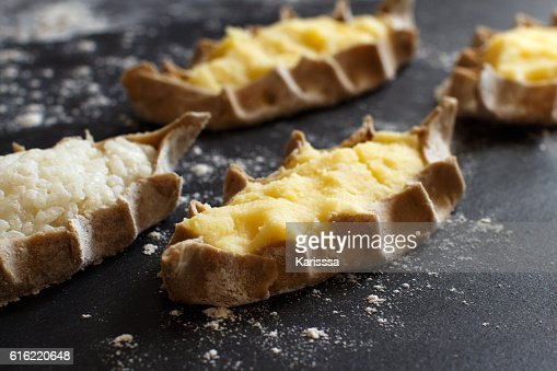 Traditional karelian pasties with potatoes : ストックフォト