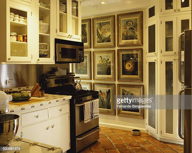 Traditional Kitchen with Red Tile Floor