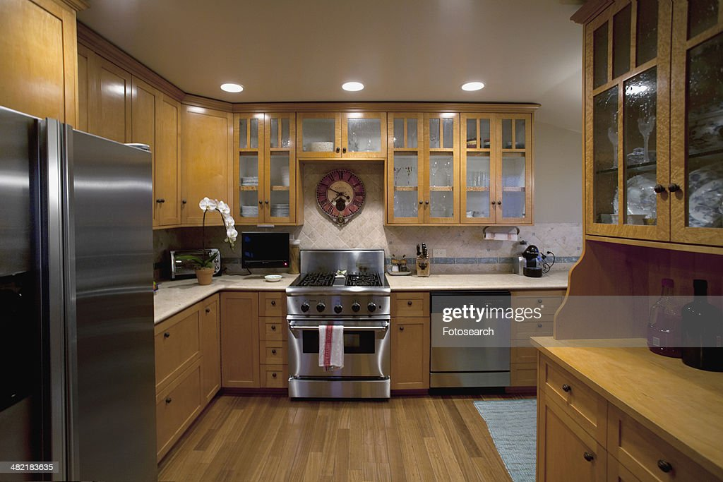Traditional kitchen with stainless steel appliances laguna for Traditional kitchen appliances