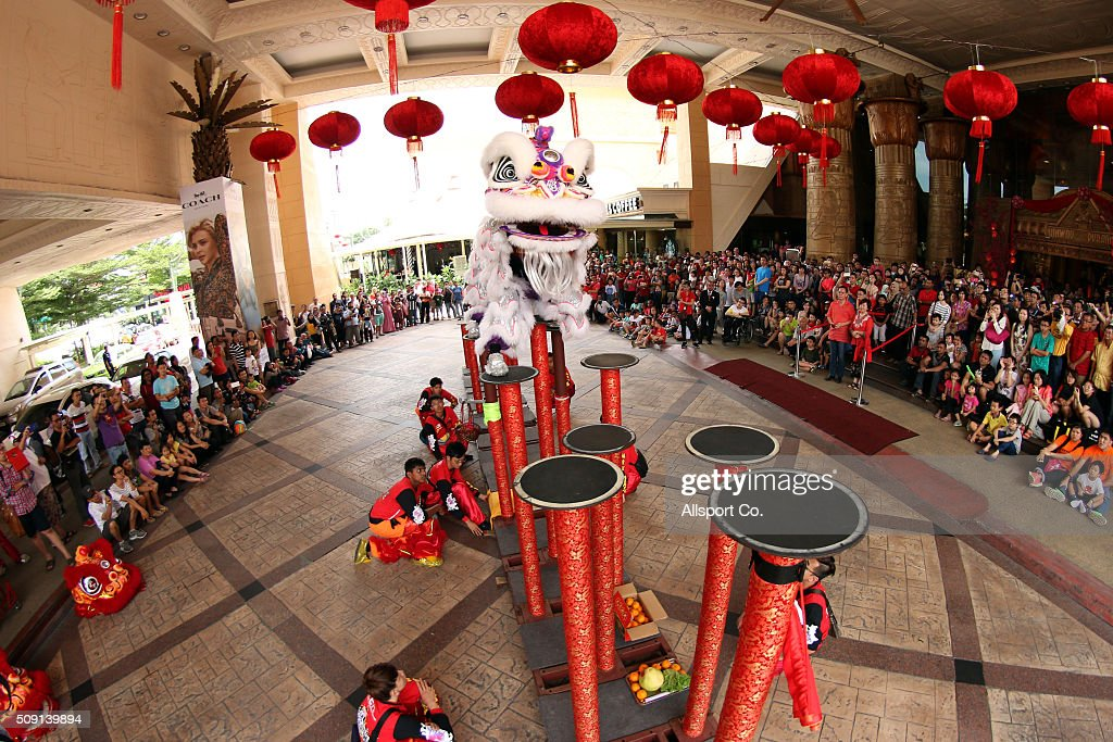 Traditional Lion Dance performances at a shopping mall on the 2nd day of Lunar New Year celebrations on February 9, 2016 in Kuala Lumpur, Malaysia.The Chinese New Year, also known as the Spring Festival, is celebrated from the first day of the first month of the lunar year and ends with Lantern Festival on the Fifteenth day.