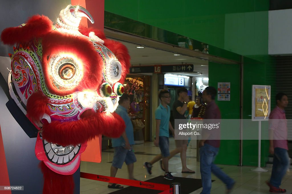 A Traditional Lion head costumes is displayed at the entrance of a shopping mall in Sungei Wang ahead of Lunar New Year of the monkey celebrations on February 6, 2016 in Kuala Lumpur, Malaysia. According to the Chinese Calendar, the Lunar New Year which falls on February 8 this year marks the Year of the Monkey, the Chinese Lunar New Year also known as the Spring Festival is celebrated from the first day of the first month of the lunar year and ends with Lantern Festival on the Fifteenth day.