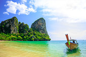 Beautiful view of a traditional longtail boat at Railay beach, Ao Nang, Thailand