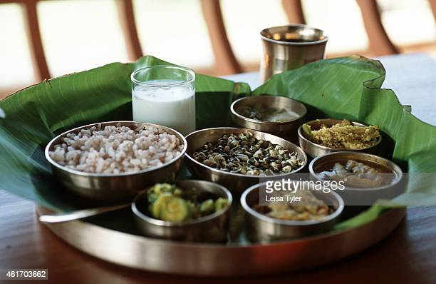 A traditional lunch thali at Kalari Kovilakom a 19th century palace in the hills above Palakkad Kerala recently converted into an ayurvedic resort...