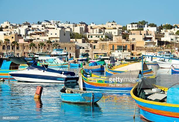 Traditional Maltese fishing boats, Marsaxlokk town