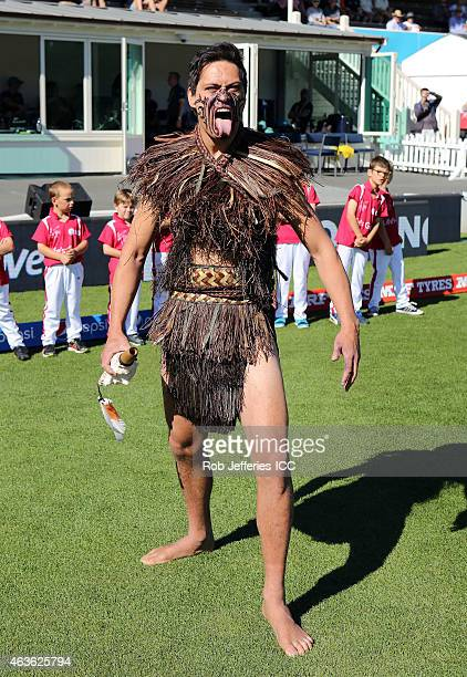 A traditional Maori Warrior welcome the World Cup to Dunedin during the ICC Cricket World Cup match between New Zealand and Scotland at University...