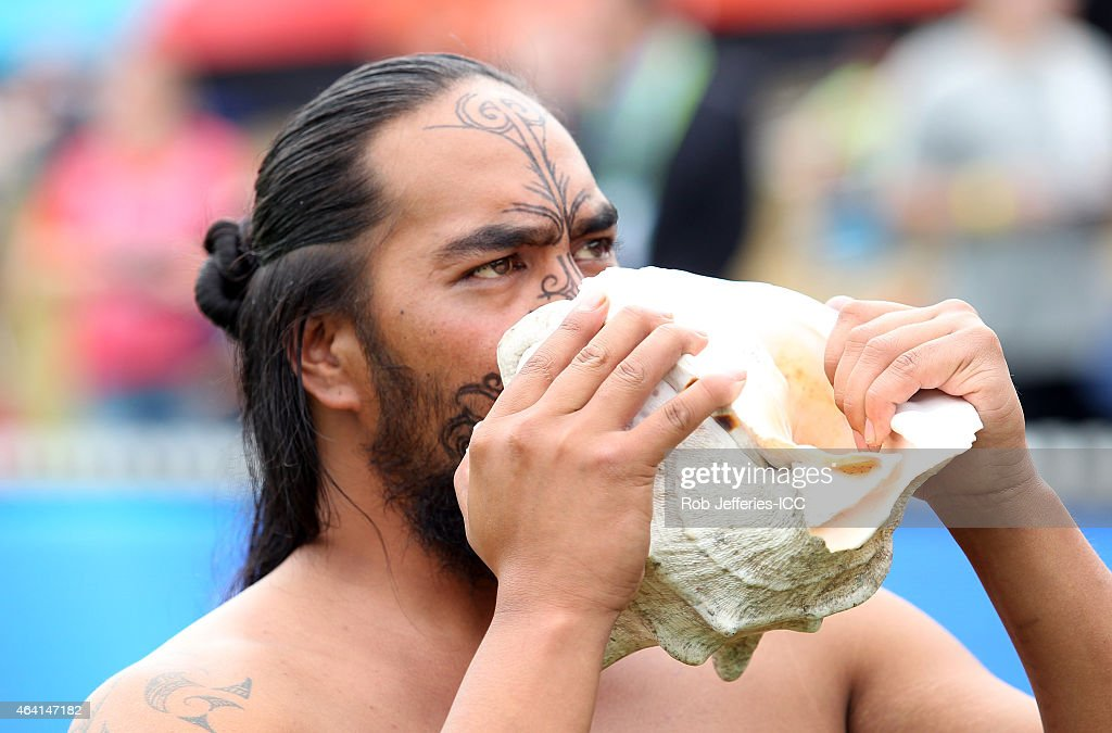 A traditional Maori welcome during the 2015 ICC Cricket World Cup match between England and Scotland at Hagley Oval on February 23 2015 in...
