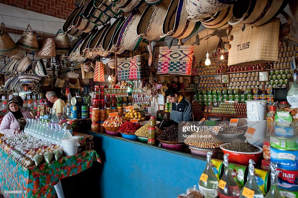 Traditional market of Nabeul with its shops of spices and handcrafts