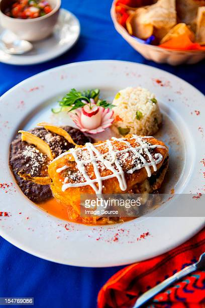Traditional Mayan dish of stuffed pepper with rice and beans