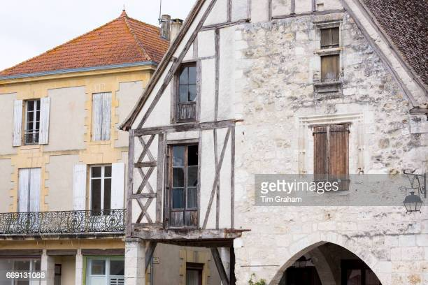 Traditional medieval architecture in 13th Century bastide fortified town of Eymet in Aquitaine France