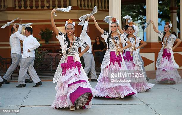 Traditional Mexican dancing in Zocalo Square on November 4 2014 in Campeche Mexico The Royal Couple are on the second day of a four day visit to...