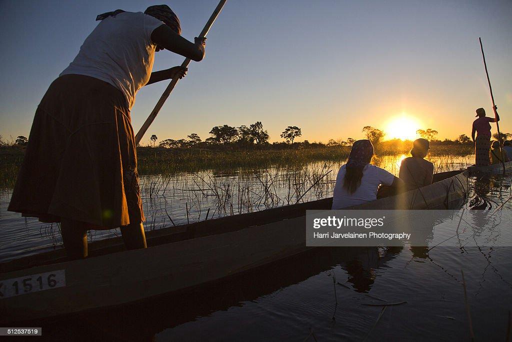 Traditional mokoros (dug-out canoes) in Okavango