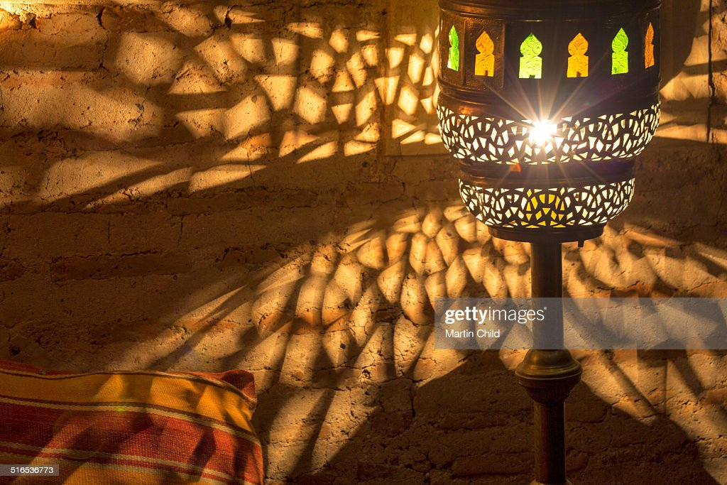 A traditional Moroccan lamp