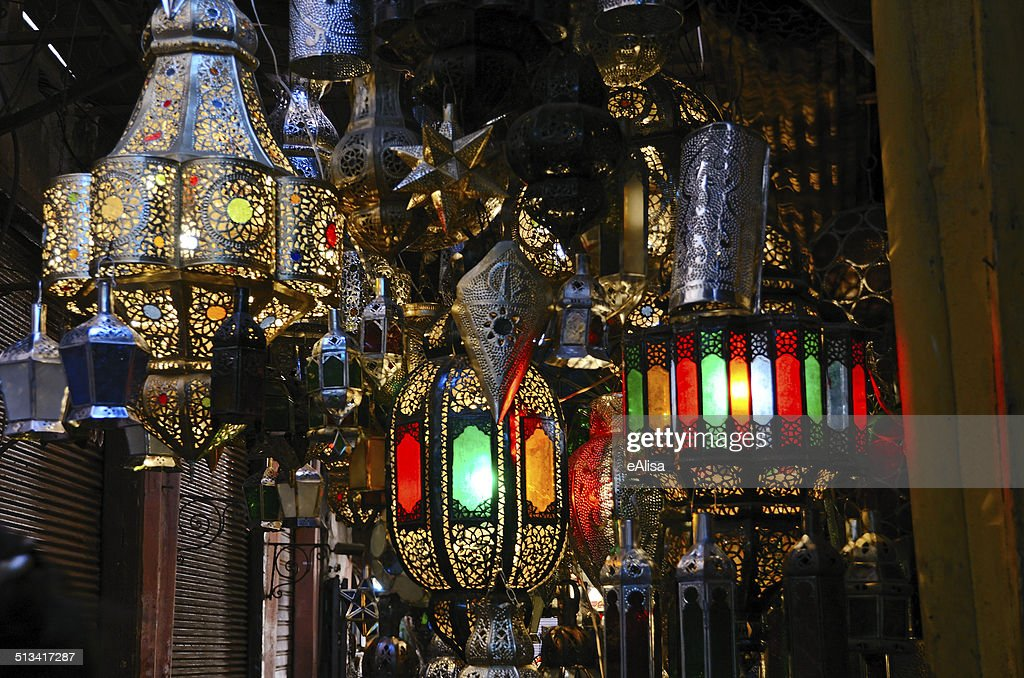 traditional moroccan lamps stock photo