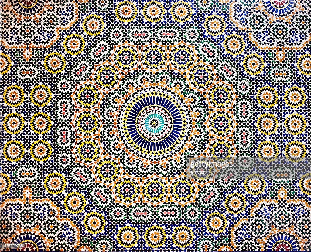 Traditional Moroccan Mosaic pattern tiled wall