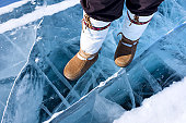 Traditional Mukluks or boots on ice.