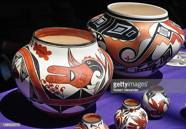 Traditional Native American pottery by Acoma Pueblo artist Wanda Aragon for sale at the 2012 Indian Market presented each August by the Southwestern...