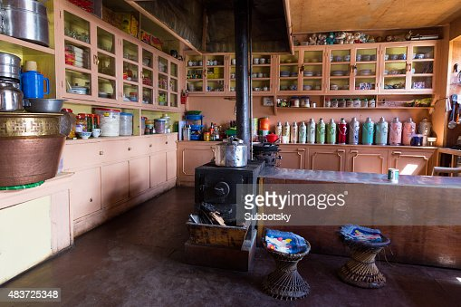 traditional nepalese kitchen fireplace cookware stock photo