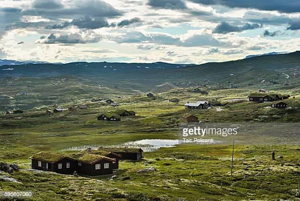 Traditional Norwegian houses in Ustaoset Village in central Norway, Scandinavia, Europe