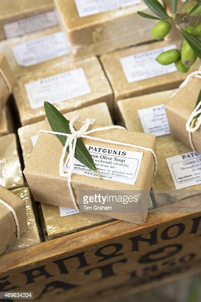 Traditional olive oil soap by Patounis on sale in gifts and souvenirs shop in Kerkyra Corfu Town Greece