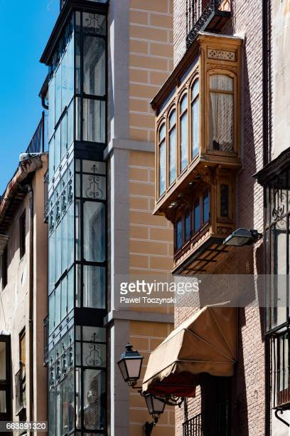 Traditional oriel windows in Toledo's old town, Spain