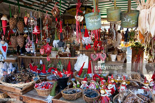 Traditional outdoor Christmas market at Viktualienmarkt in Munich Bavaria Germany
