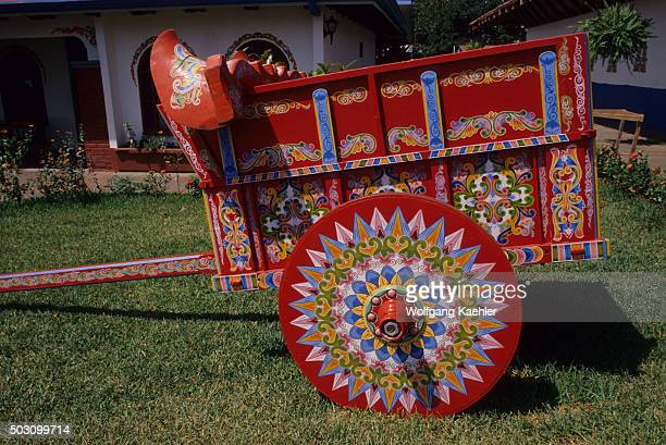 A traditional oxcart which are painted by hand near the town of Sarchi in Costa Rica