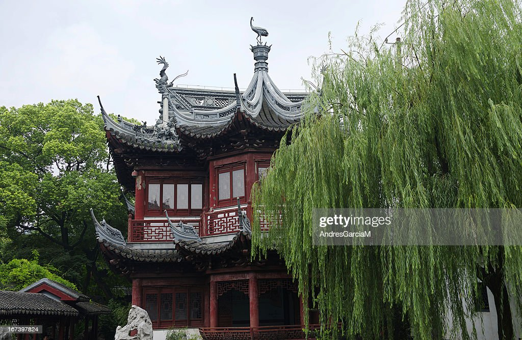 Traditional pavilion at the Yu Yuan Gardens in Shanghai : Stock Photo