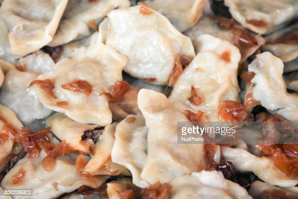 Traditional pierogi with meat and fried onion during the opening of the 15th Annual Pierogi Festival in Krakow's Small Square in Krakow Poland on 11...
