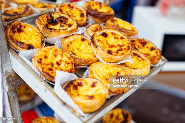 Traditional Portuguese pastry - pastel de nata - on a market stand