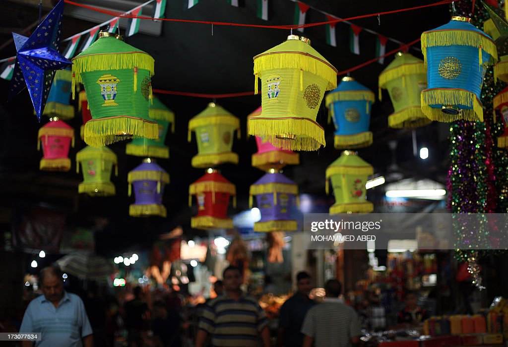 Traditional Ramadan lanterns hang in a street market in Gaza City, on July 6, 2013, in preparation for the Muslim holy fasting month of Ramadan. AFP PHOTO/MOHAMMED ABED