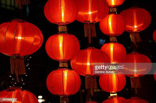 Traditional red hanging chinese lanterns