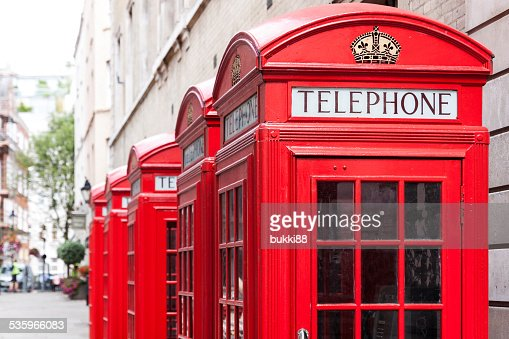 Traditional red telephone booths in London : Stock Photo