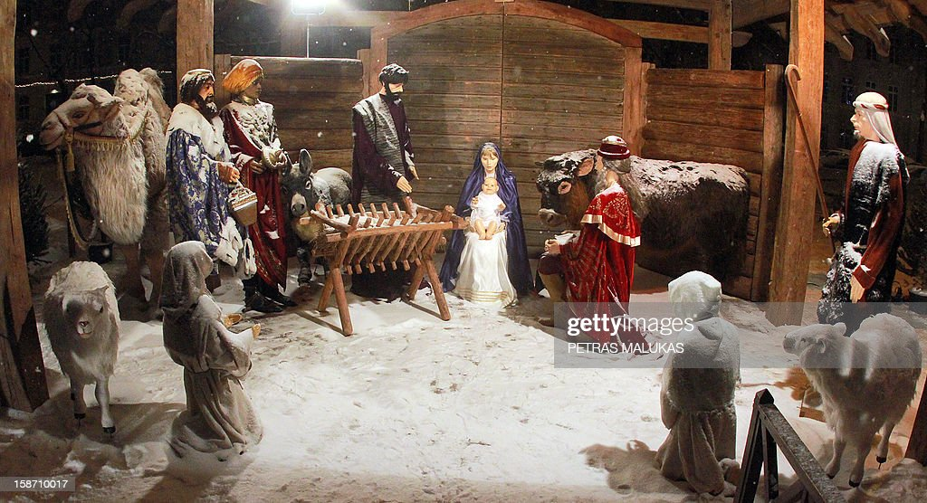 A traditional religious Nativity scene in a crib is on display in front of the Roman Catholic Cathedral of Vilnius on December 24, 2012.