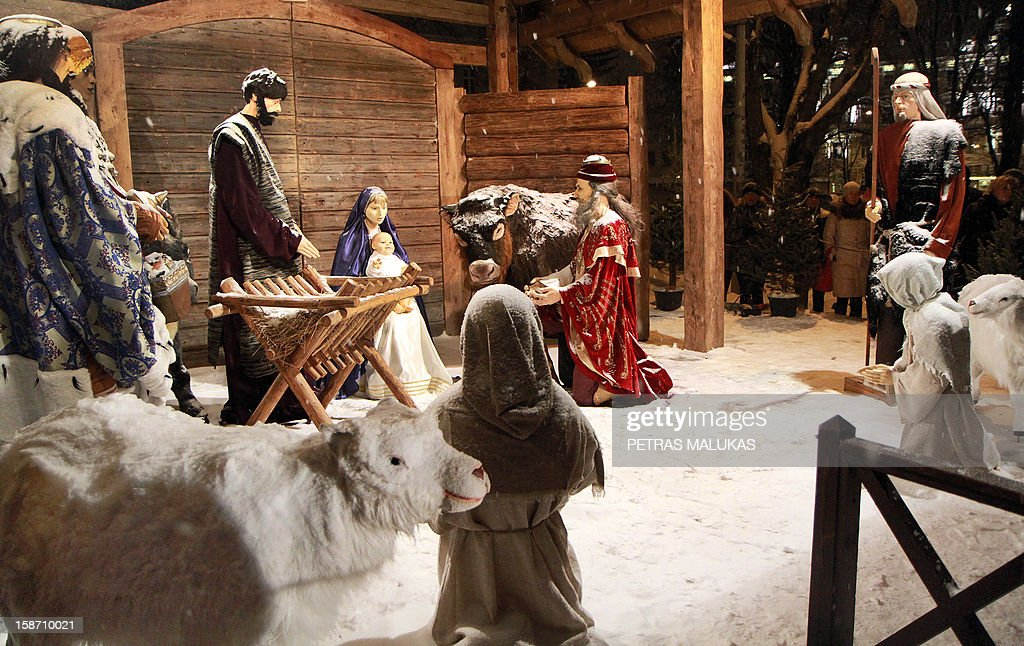 A traditional religious Nativity scene in a crib is on display in front of the Roman Catholic Cathedral of Vilnius on December 24, 2012. AFP PHOTO / PETRAS MALUKAS