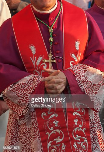 Traditional religious priest's costume , in Lipari : Stock Photo
