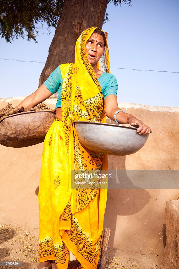 Traditional Rural Indian Woman in Rajasthan : Stock Photo
