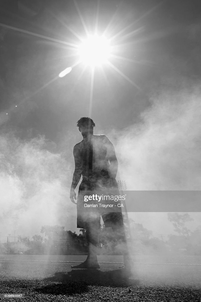 A traditional smoking ceremony takes place during day 6 of the National Indigenous Cricket Championships on February 13, 2016 in Alice Springs, Australia.