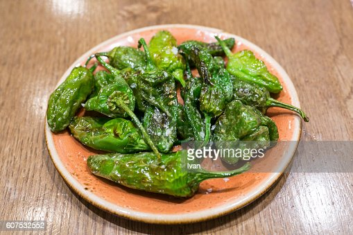 Traditional Spainisg Tapas - Fried Padron Peppers