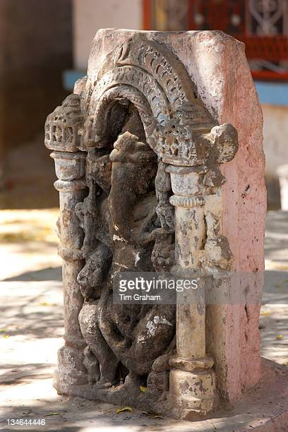 Traditional stone carving of Hindu god Ganesha in village of Nimaj Rajasthan Northern India
