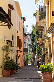 Traditional street in the old town on July 16 2015 in Chania Greece The city of Chania can be divided in two parts the old town and the modern The...