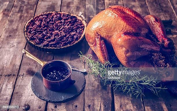 Traditional Stuffed Turkey and Pecan Pie