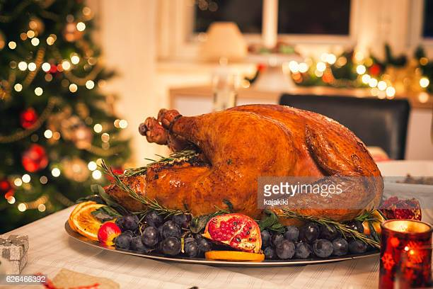 Traditional Stuffed Turkey with Side Dishes