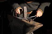 Traditional style blacksmith close up image