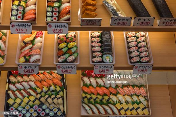 Traditional sushi bentoboxes for sale  at osaka japan