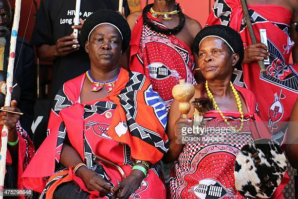 Traditional Swazi musicians perform during the Swaziland Bushfire festival on May 30 2015 in Malkerns in the Swaziland countryside Bushfire is...