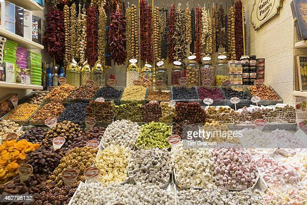 Traditional sweetmeats Turkish Delight Lokum dates nuts in Misir Carsisi Egyptian Bazaar food and spice market Istanbul Turkey